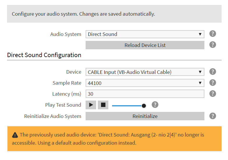 Audio Configuration (showing an error message)