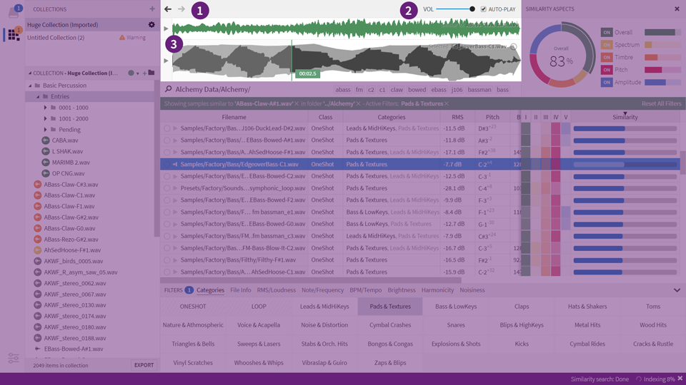 Query History (1), Playback Options (2), Waveform Display (3)